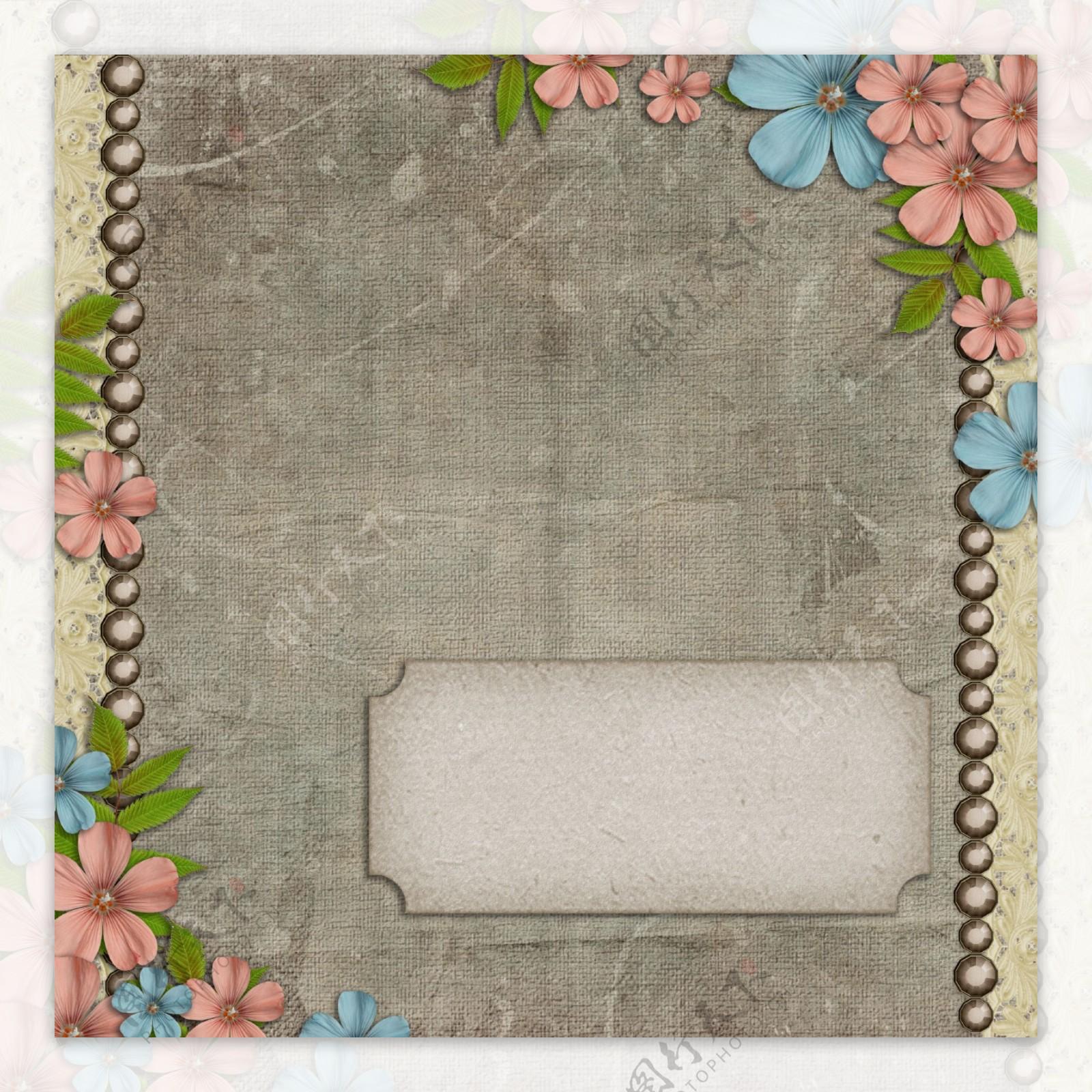 蓝色花朵暗纹边框磨砂背景高清图片素材