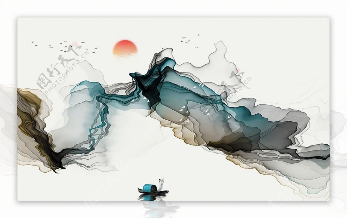 新中式抽象水墨唯美山水背景墙